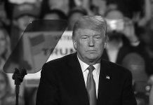 trump in black and white